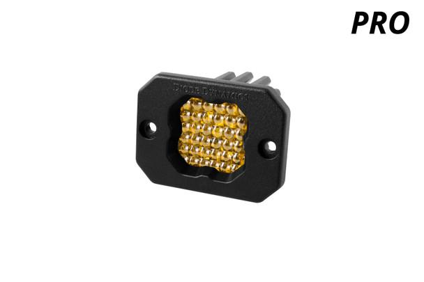 "Diode Dynamics Stage Series 1"" LED Pod Pro Yellow Flood Flush Amber Backlight (Single)"