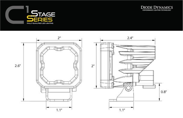 """Diode Dynamics Stage Series 1"""" LED Pod White SAE/DOT Fog Standard White Backlight"""