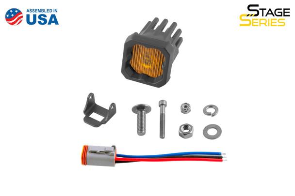 "Diode Dynamics Stage Series 1"" LED Pod Yellow SAE/DOT Fog Standard Amber Backlight (Single)"
