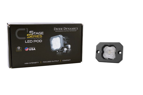 """Diode Dynamics Stage Series 1"""" LED Pod White SAE/DOT Fog Flush White Backlight (Single)"""