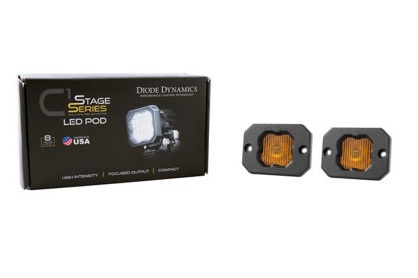 "Diode Dynamics Stage Series 1"" LED Pod Yellow SAE/DOT Fog Flush Amber Backlight"