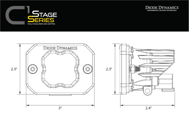 "Diode Dynamics Stage Series 1"" LED Pod Yellow SAE/DOT Fog Flush Amber Backlight (Single)"