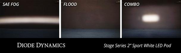 "Diode Dynamics Stage Series 2"" LED Pod Pro White Combo Flush Amber Back Light (Single)"