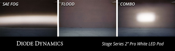 "Diode Dynamics Stage Series 2"" LED Pod Pro White Combo Flush Blue Back Light (Single)"