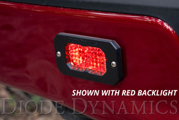 "Diode Dynamics Stage Series 2"" LED Pod Sport White Combo Flush Red Back Light (Single)"