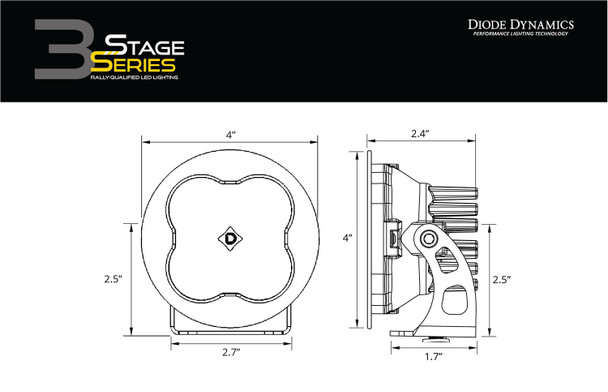 """Diode Dynamics Stage Series 3"""" Pro Yellow Flood Round (Pair)"""