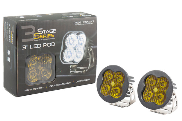 """Diode Dynamics Stage Series 3"""" Pro Yellow Driving Round (Pair)"""