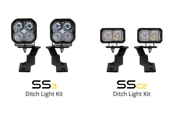 Diode Dynamics Stage Series 2in LED Ditch Light Kit for 2016-2021 Toyota Tacoma, Pro Yellow Combo