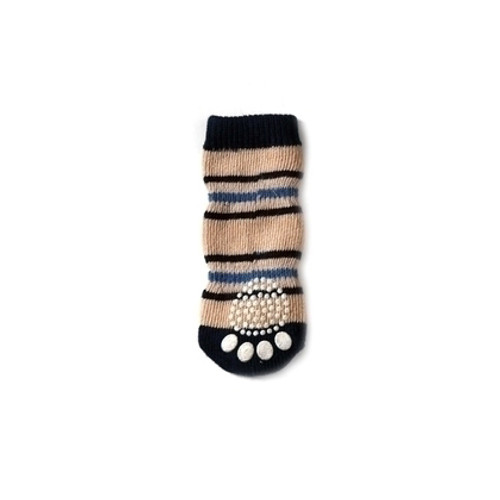 Tan Striped Pet Socks