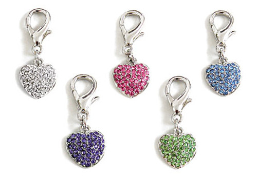 Pave Puffed Heart Charms