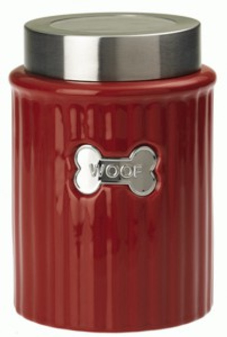 Red WOOF Tagged Treat Jar