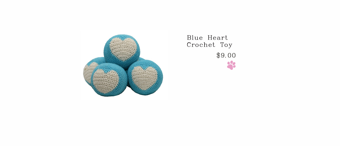 Blue Heart Crochet Toy