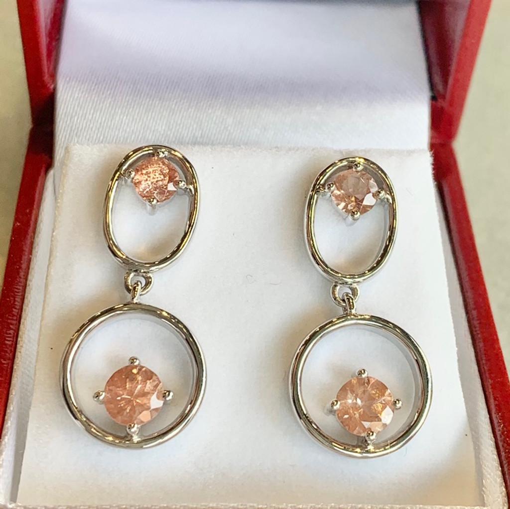Oregon Sunstone Circle and Oval Post Earrings