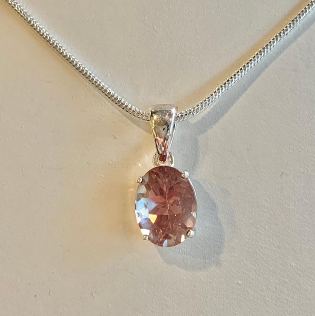 Oregon Sunstone 10mm Oval Pendant Necklace Silver