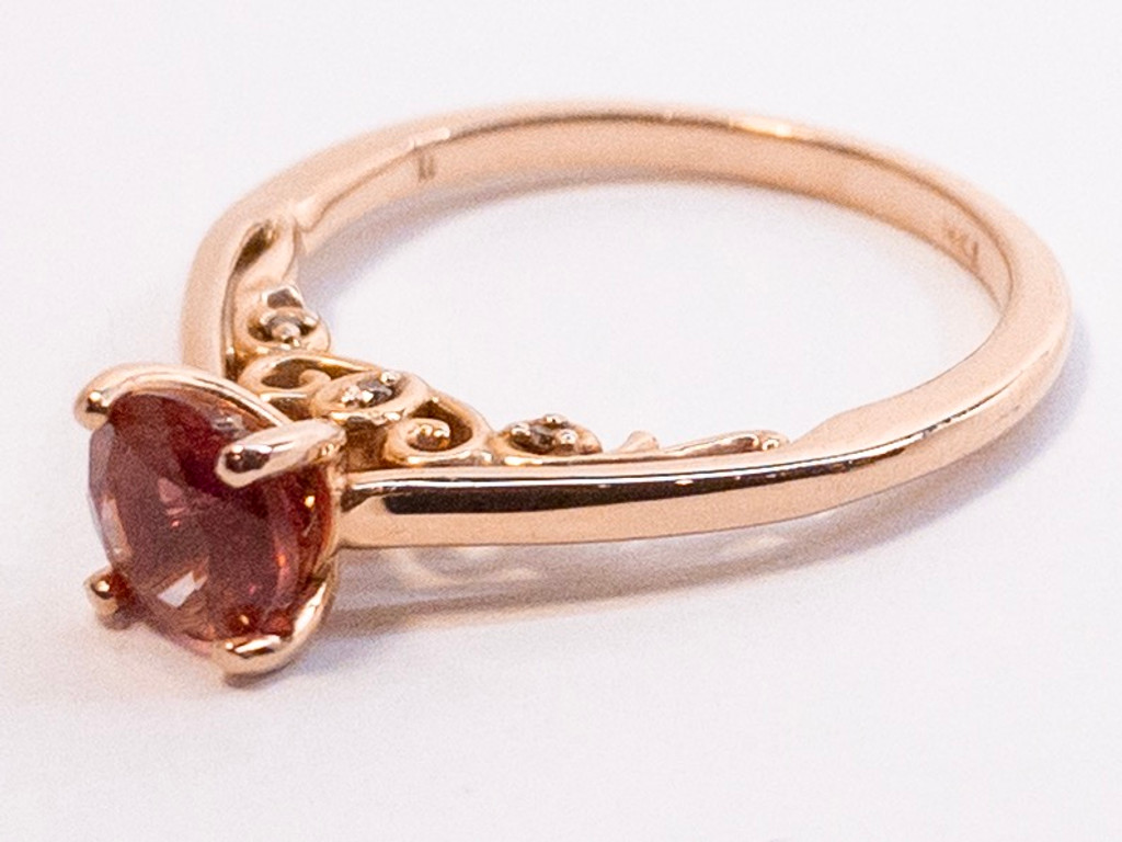 14kt Rose Gold Oregon Sunstone Ring with Diamonds