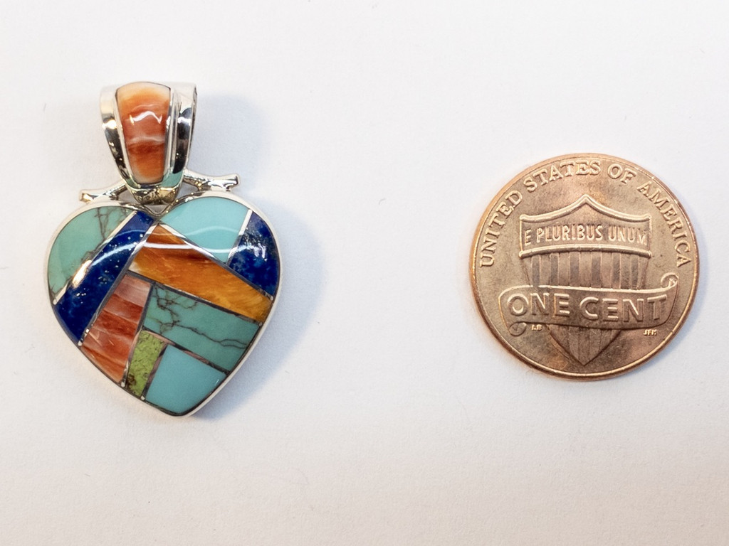 Multistone Inlay Heart Pendant by Native American Artist in Sterling Silver