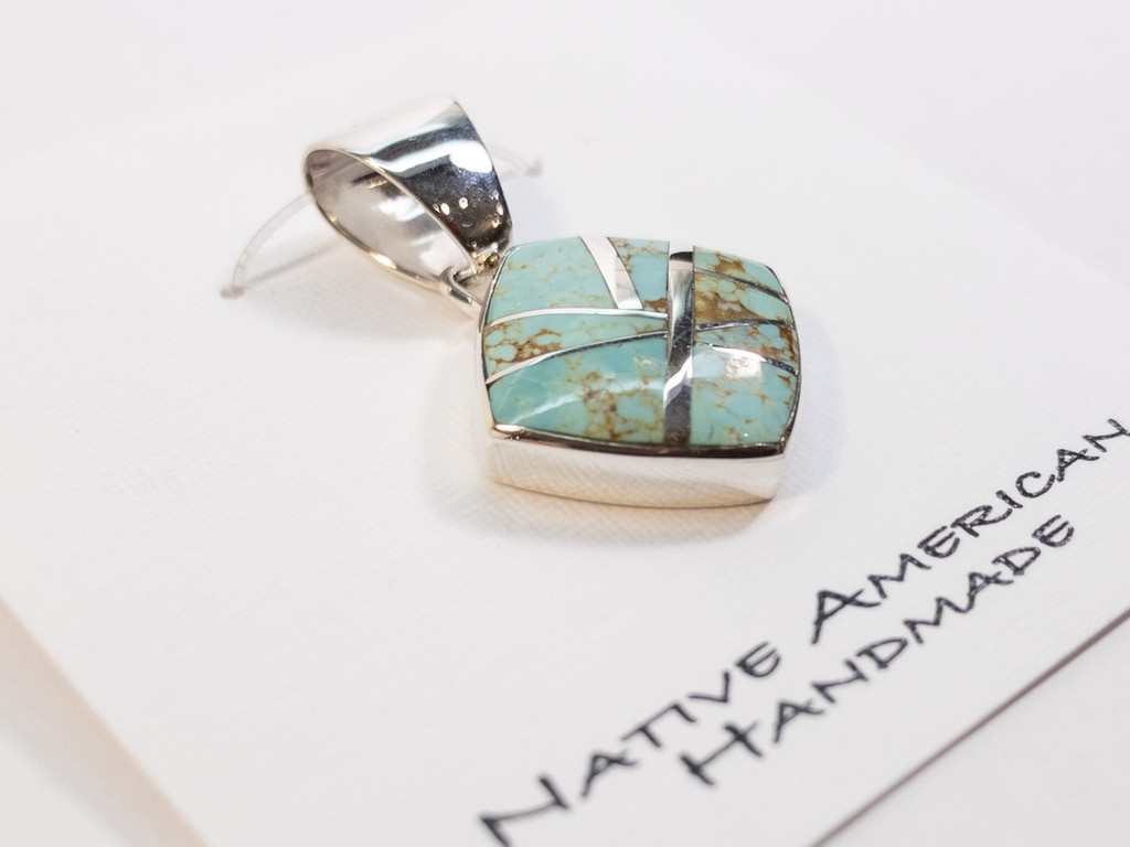 Turquoise Inlay Pendant Signed by Navajo Artist