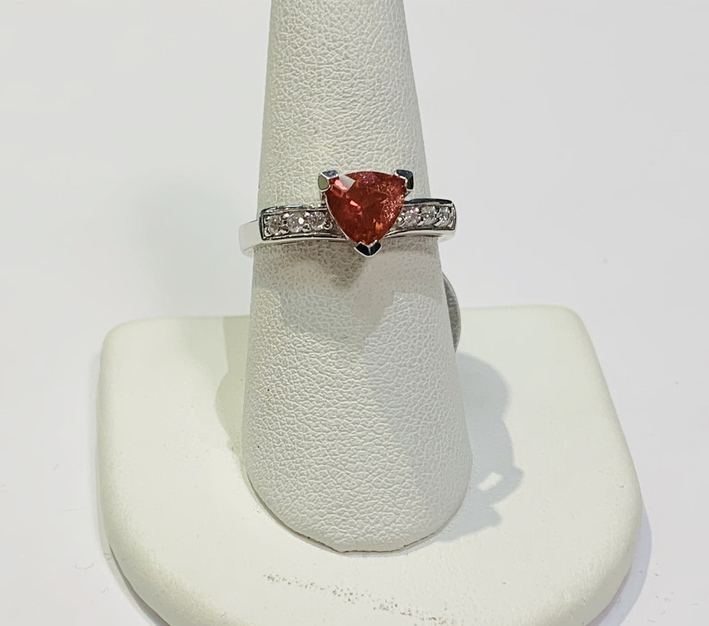 Oregon Sunstone Trillion Ring With White Topaz