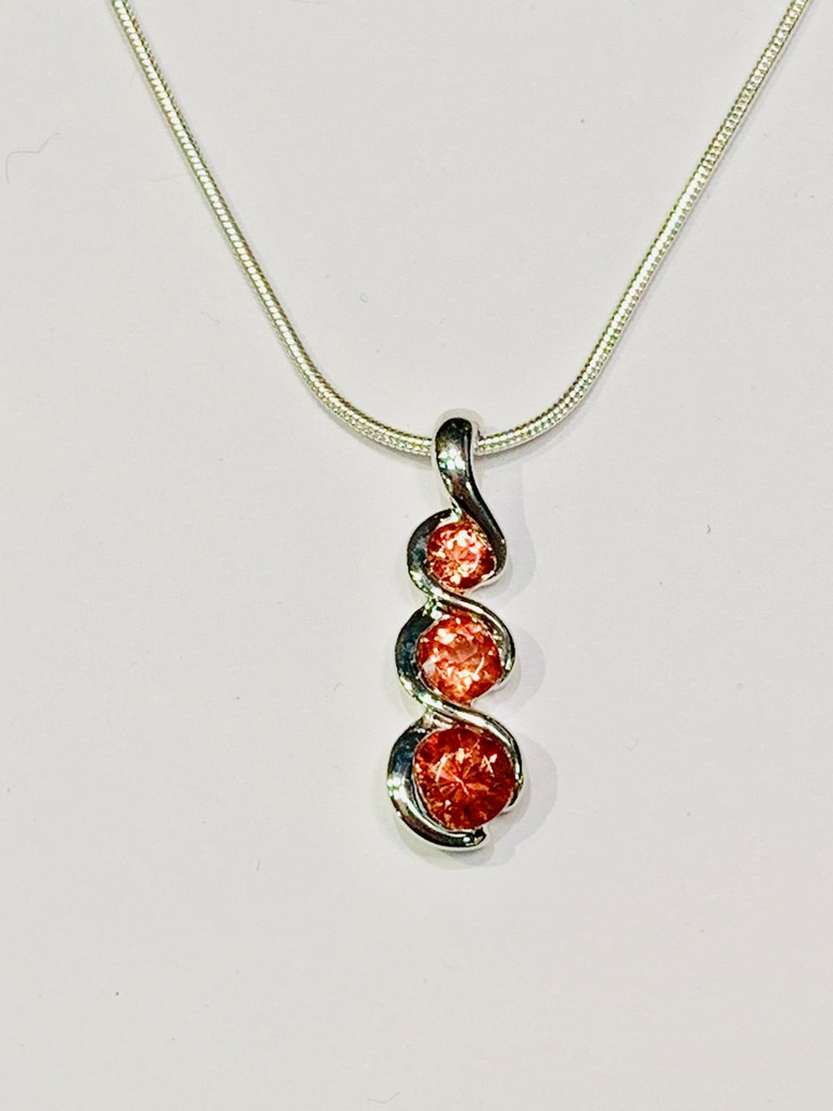 Triple Oregon Sunstone Pendant Necklace