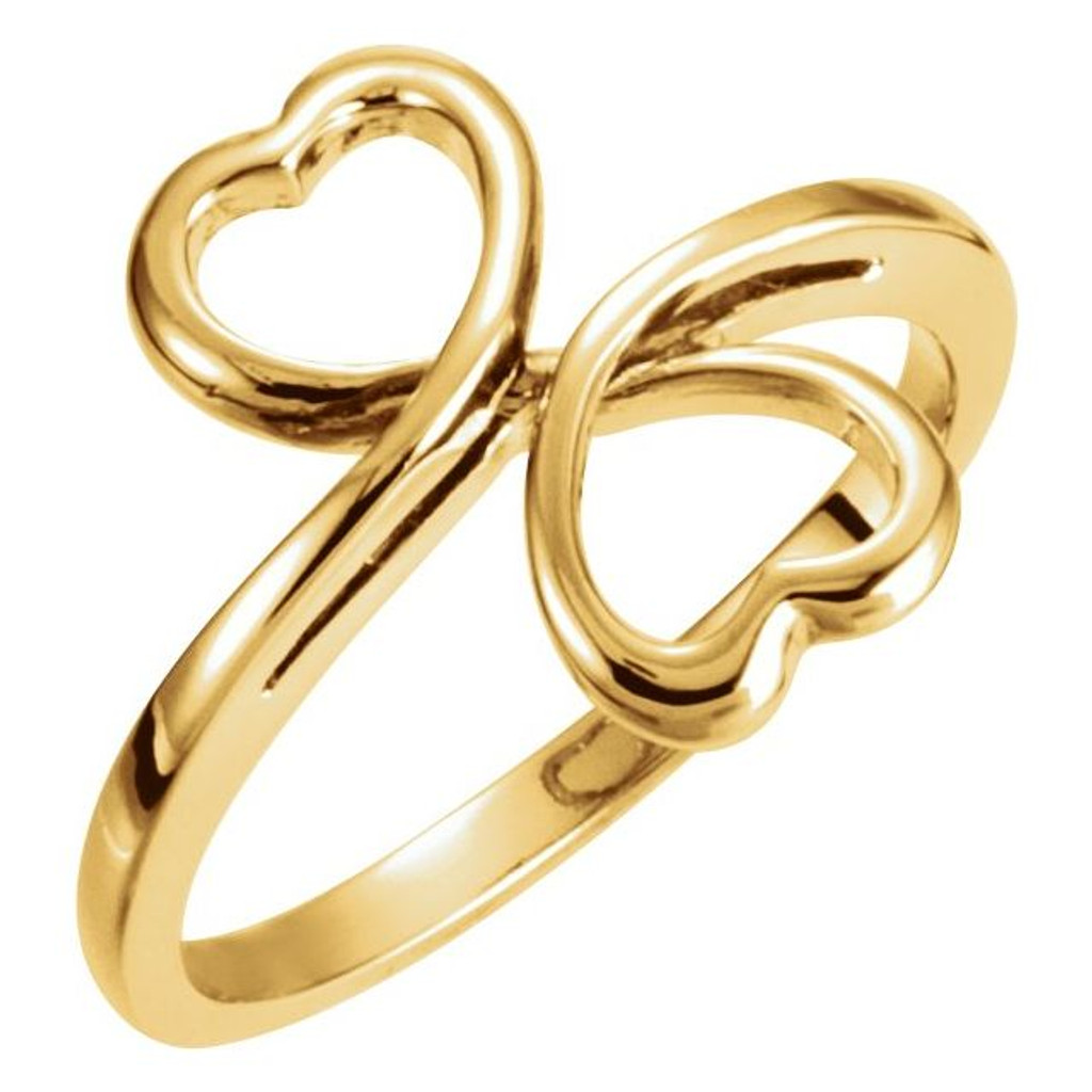 Double Heart Ring in 14kt Gold