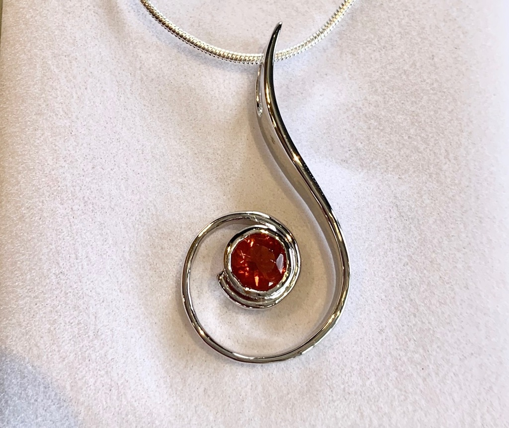 Oregon Sunstone Swirl Pendant Necklace