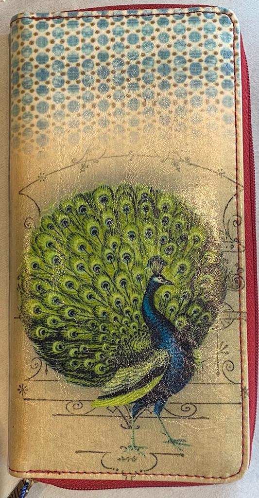 Vintage Peacock Wallet Vegan Leather
