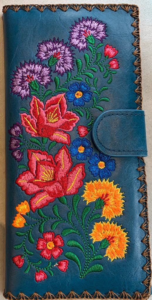 Large Flowers Embroidery Wallet Vegan Leather
