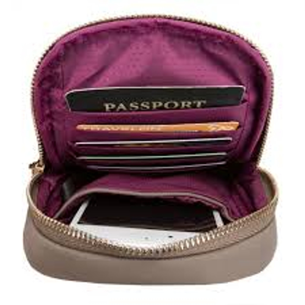 Interior color of garnet crossbody is taupe.