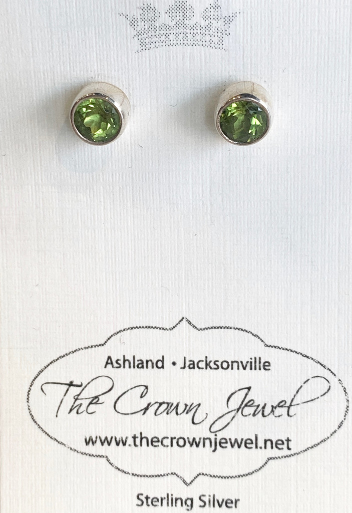 Round Faceted Peridot Silver Post Earring