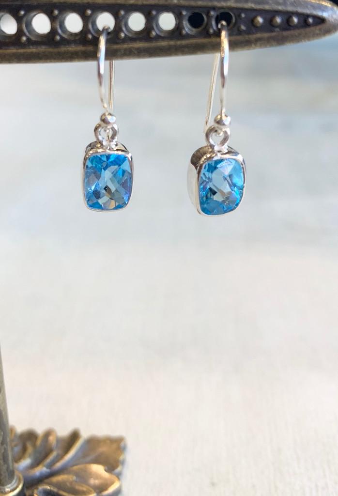 Rectangular Faceted Blue Topaz Silver Dangle Earring