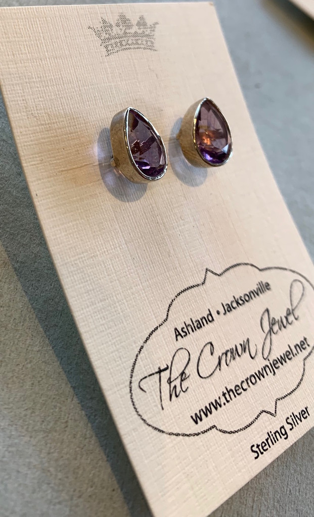 Large Teardrop Faceted Amethyst Post Earrings