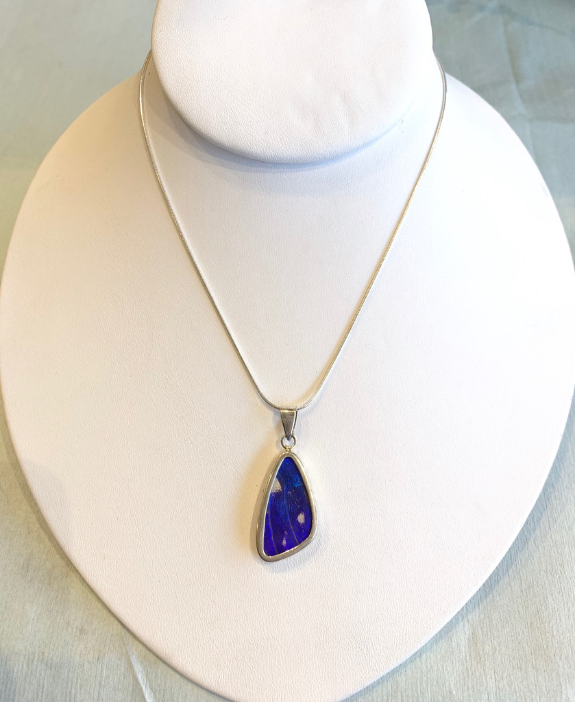 Eco-Friendly Medium Blue Morpho Butterfly Wing Necklace