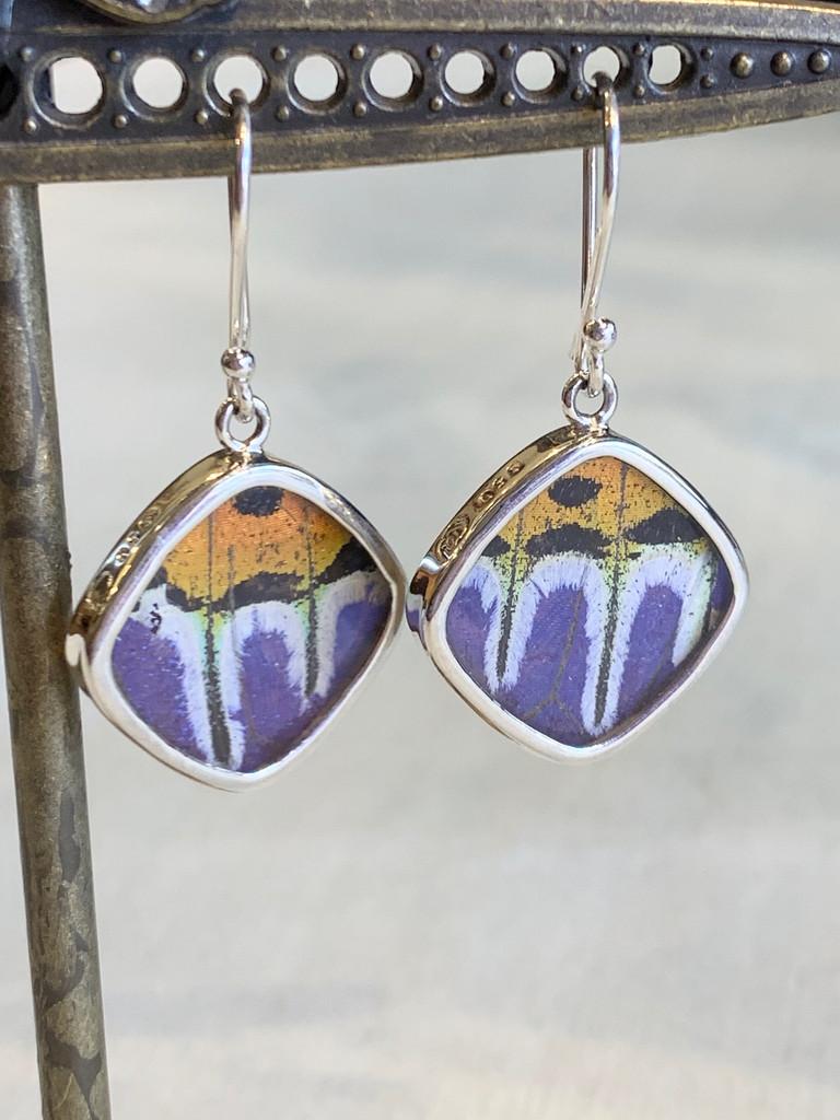 Eco-Friendly Medium Blue-Orange Butterfly Earrings