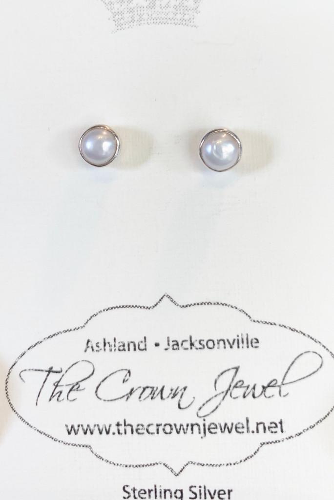 Small Pearl Silver Post Earrings