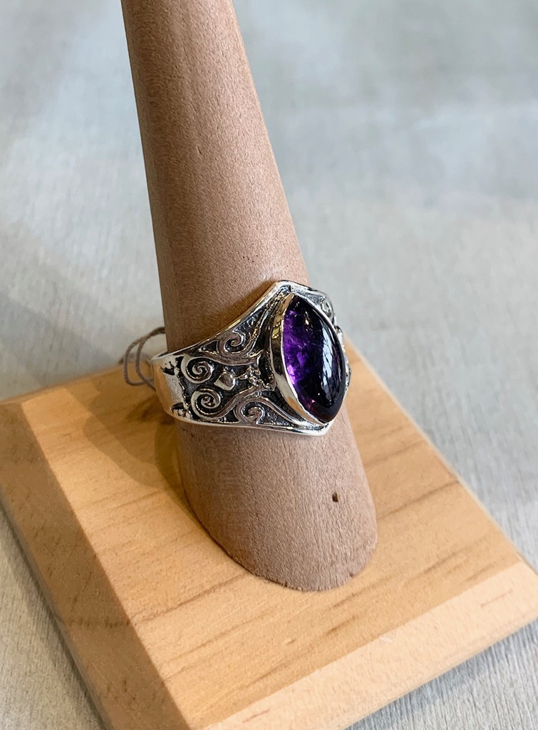 Cabochon Marquise Amethyst Silver Ring, Size 9