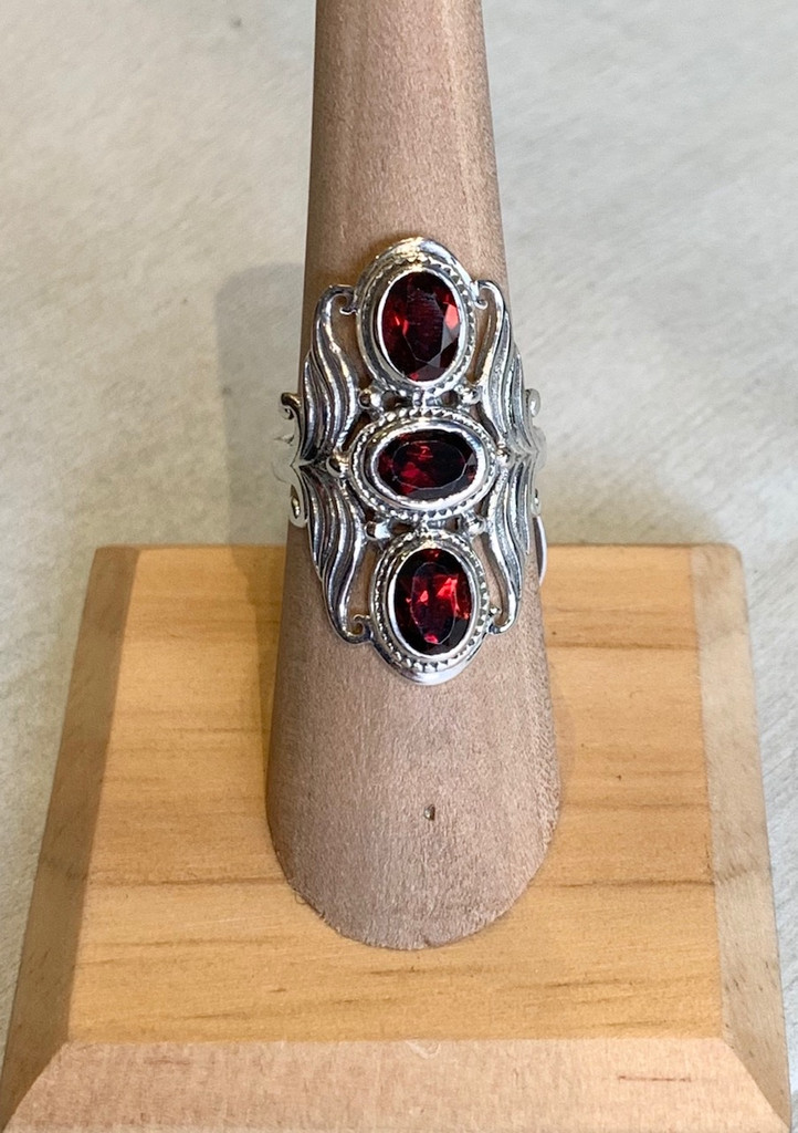 Ornate Triple Garnet Silver Ring, Size 6.25