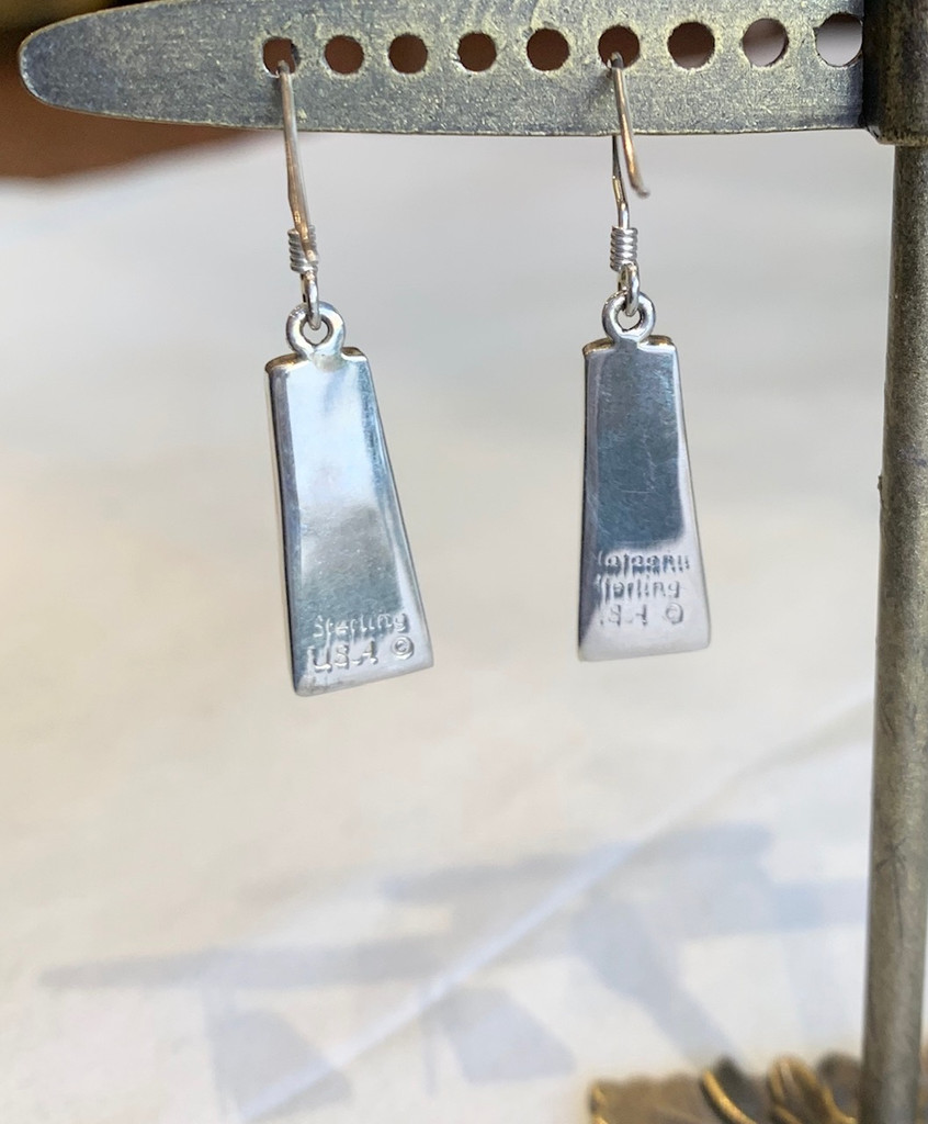 Onyx and Opal Inlay Silver Earrings