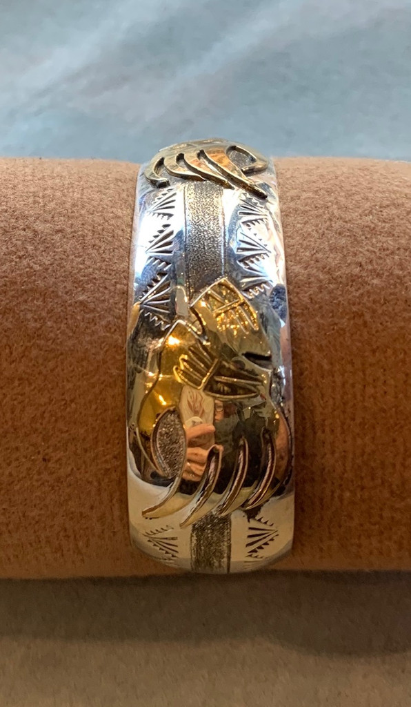 Bear Paw Silver and Gold Fill Cuff Bracelet by Genevieve Jones