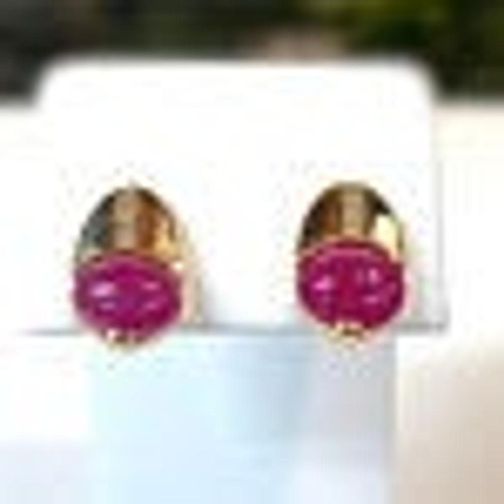 14k Ruby & Diamond Art Deco Post Earrings