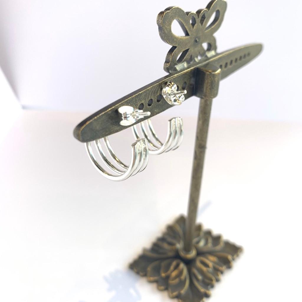 Small Triple Hoop Silver Post Earrings