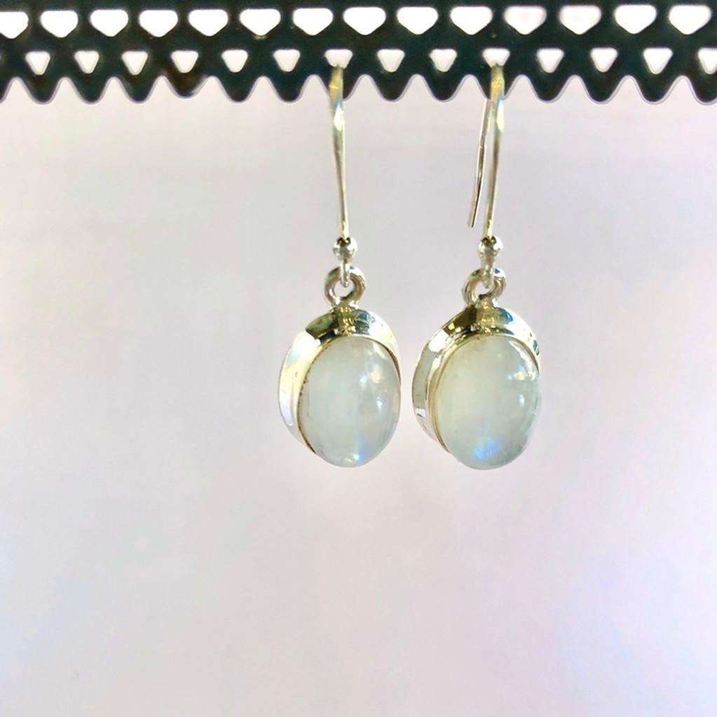 Oval Moonstone Silver Earrings