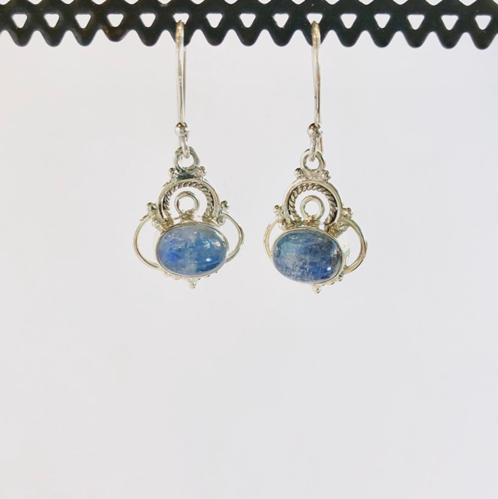 Blue Moonstone Silver Earrings