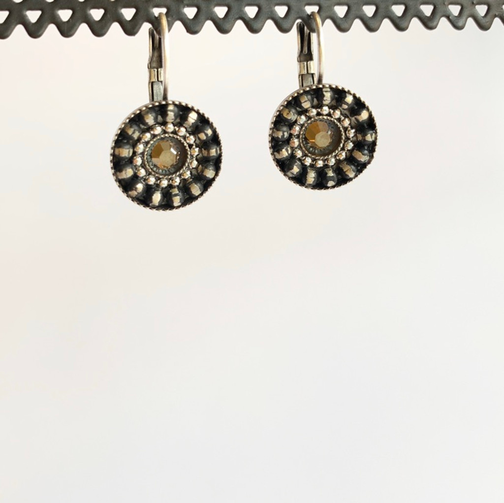 Gold Swarovski Crystal Silver Circle Earrings