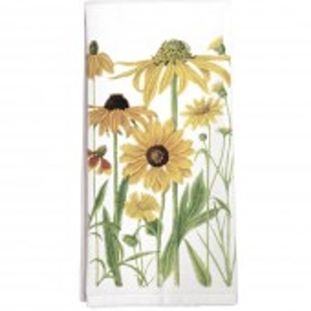Flour Sack Tea Towel, Yellow Flowers