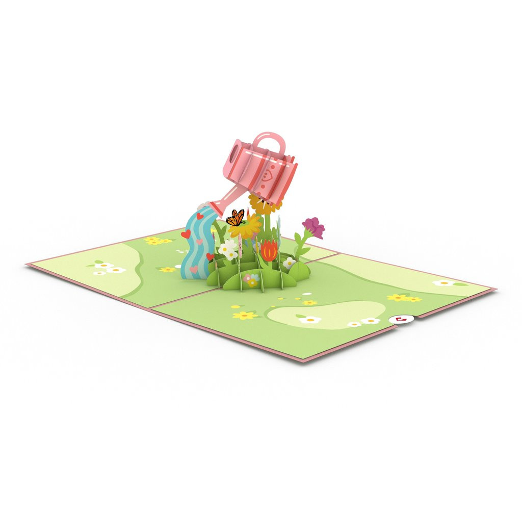 Pop-Up Card, Watering Can Flowers