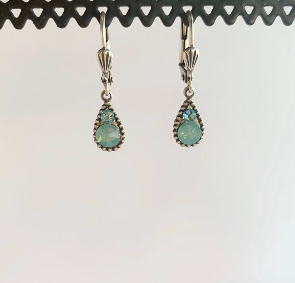 Light Blue Swarovski Crystal Teardrop Silver Earrings