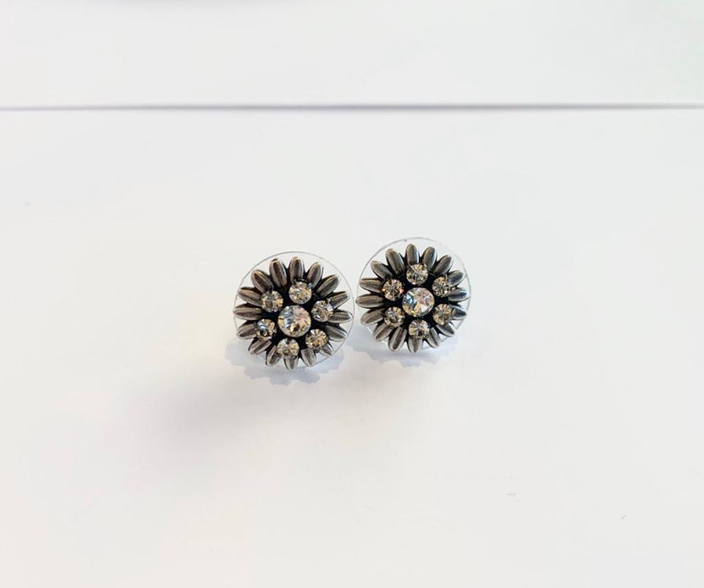 White Swarovski Crystal Silver Flower Post Earrings