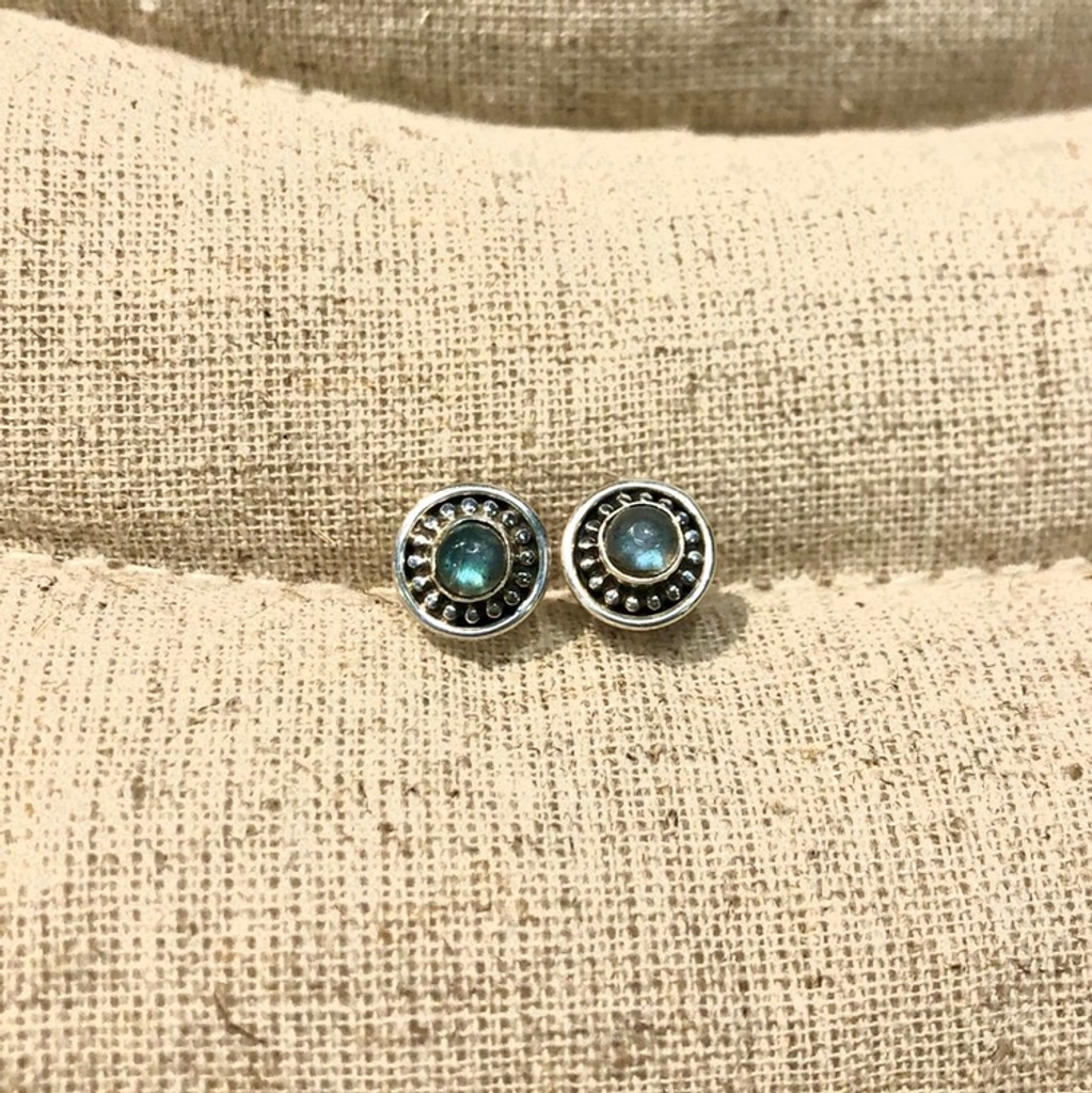 Small Circle Labradorite Post Earrings
