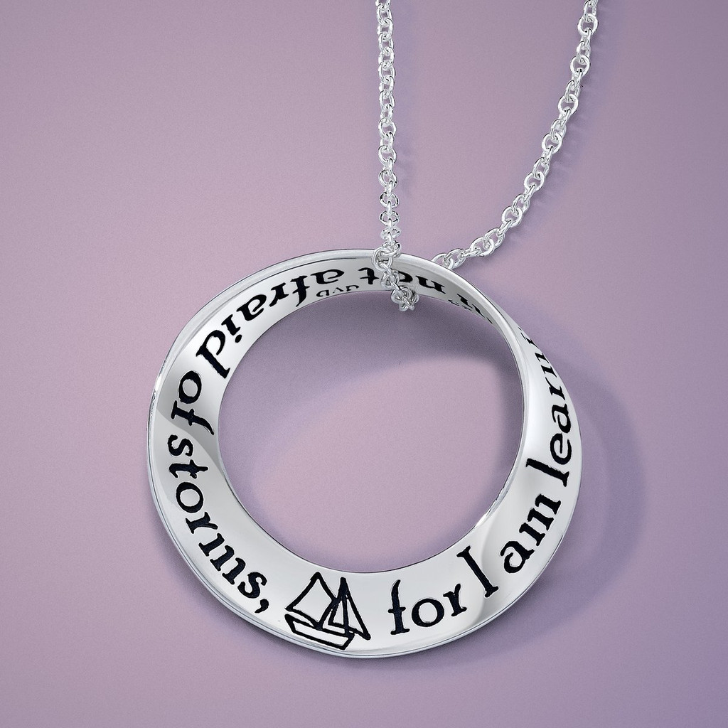 I am Not Afraid of Storms (Louisa May Alcott) Silver Mobius Necklace