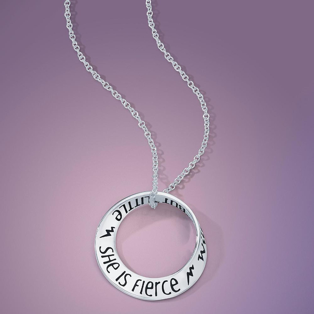 She is Fierce (Shakespeare Midsummer Night's Dream) Silver Small Mobius Necklace